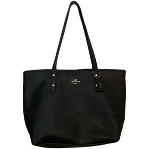 Authentic Coach City Crossgrain Navy Leather Tote